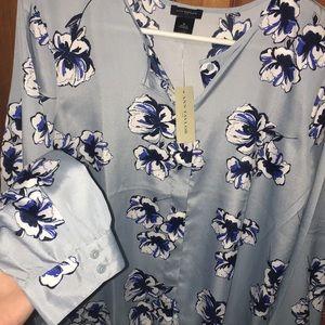Ann Taylor blue floral blouse button up